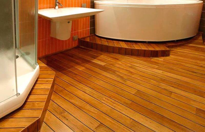 Пример напольного покрытия в ванной комнате