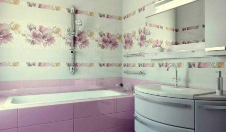 Плитка в интерьере большой ванной комнаты