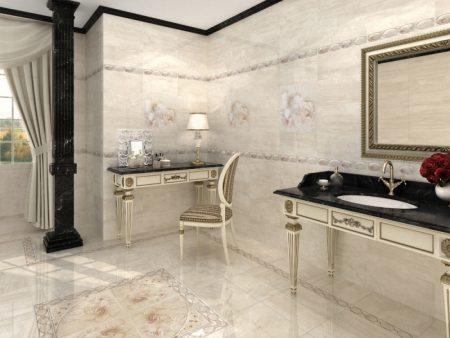 Шикарная отделка ванной комнаты плиткой