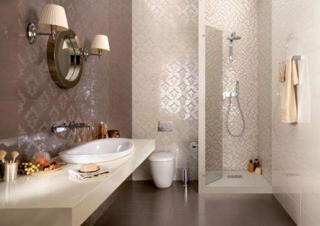 Темная плитка в интерьер ванной комнаты