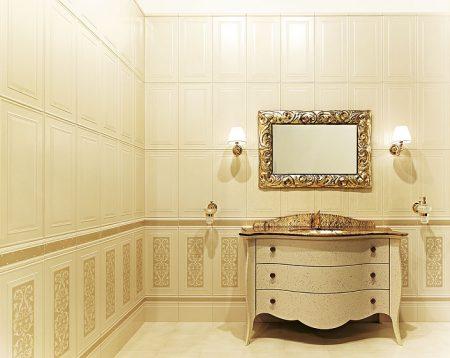 Светлая плитка в интерьер ванной комнаты