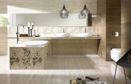 Вариант отделки большой ванной комнаты